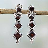 Garnet dangle earrings, 'Ravishing Red' - Hand Made Jewelry Sterling Silver and Garnet Earrings