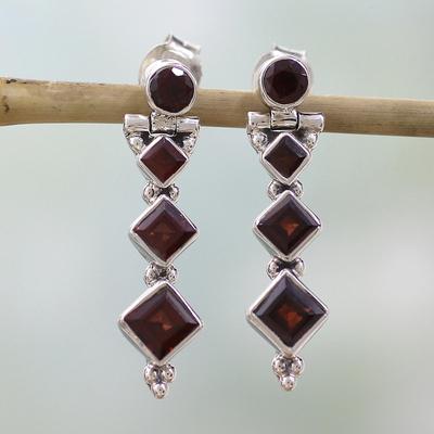 Garnet dangle earrings, 'Ravishing Red' - Hand Made jewellery Sterling Silver and Garnet Earrings