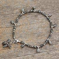Labradorite anklet, 'Intuitive' - Labradorite and Sterling Silver Beaded Anklet