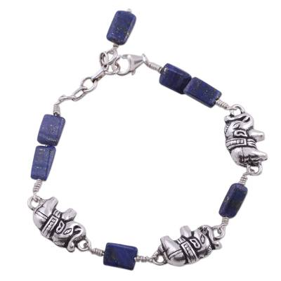India Elephant Jewelry Lapis and Silver Bracelet
