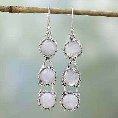Moonstone dangle earrings, 'Icy Dew' - Moonstone Earrings from India Sterling Silver Jewelry