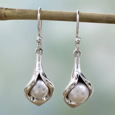 pearl earrings from flower novica india jewelry sterling lily silver p calla