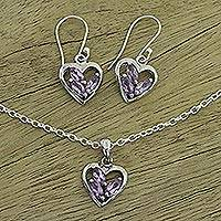 Amethyst jewelry set, 'Heart Sparkles' - Amethyst jewellery set
