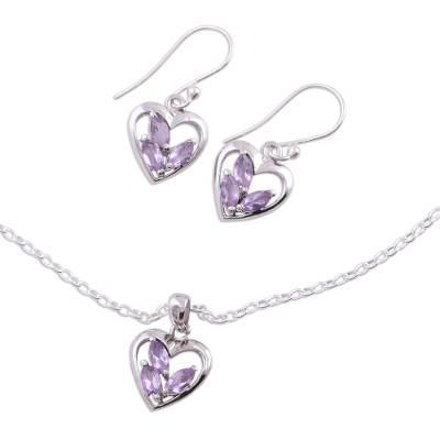 Amethyst jewelry set, 'Heart Sparkles' - Amethyst jewellery set