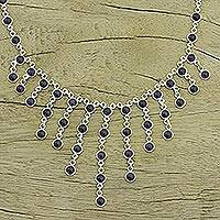 Amethyst waterfall necklace, 'Radiance' - Women's Sterling Silver Waterfall Amethyst Necklace