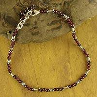Garnet beaded anklet, 'Crimson Trios' - Silver and Garnet Indian Anklet