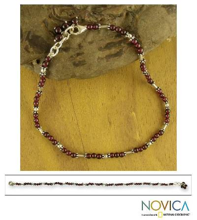 Garnet beaded anklet, 'Crimson Trios' - Garnet beaded anklet