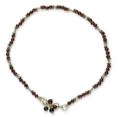 Garnet beaded anklet