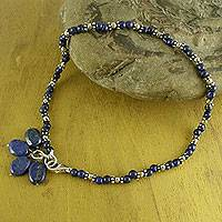 Lapis lazuli beaded anklet, 'Knowledge'
