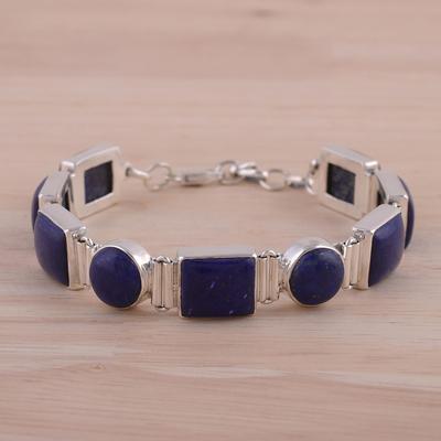 Lapis lazuli link bracelet, 'Connected' - Sterling Silver Lapis Lazuli Bracelet Indian Jewelry