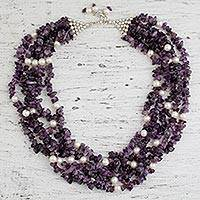 Pearl and amethyst strand necklace, 'Snow on Lilies' - Pearl and amethyst strand necklace