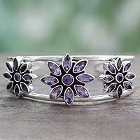 Amethyst cuff bracelet, 'Three Blossoms' - Fair Trade Floral Sterling Silver Amethyst Cuff Bracelet