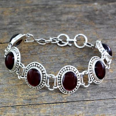 Garnet link bracelet, 'Crimson Garland' - Garnet Bracelet Artisan Crafted Silver jewellery from India
