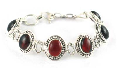 Garnet Bracelet Artisan Crafted Silver Jewelry from India