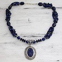 Lapis lazuli pendant necklace, 'Blue Riches' - Lapis Lazuli Handcrafted Sterling Silver Necklace