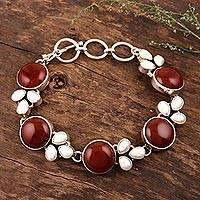 Cultured pearl and carnelian flower bracelet, 'Warm Glow' - Sterling Silver Pearl and Carnelian Bracelet Artisan Jewelry