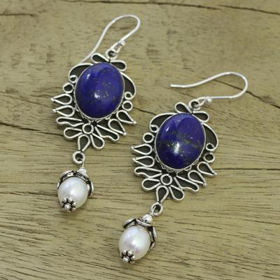 Pearl and lapis lazuli dangle earrings, 'Ethereal' - Lapis Lazuli and Pearl Earrings in Sterling Silver