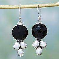Pearl and onyx flower earrings, 'Facets' - Sterling Silver Pearl and Onyx Earrings from India