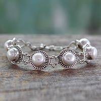 Pearl link bracelet, 'Prosperity' - Indian jewellery Bracelet in Sterling Silver and Pearls