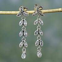 Quartz floral earrings, 'White Daffodils'