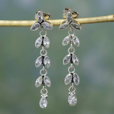 Quartz floral earrings, 'White Daffodils' - Sterling Silver and Quartz Earrings from Bridal Jewelry