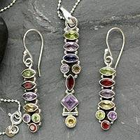 Amethyst and citrine jewelry set, 'Totem Lights' - Sterling Silver Multigem Jewelry Set