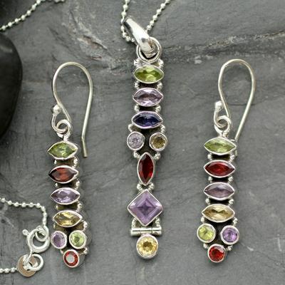 Amethyst and citrine jewelry set, 'Totem Lights' - Sterling Silver Multigem jewellery Set