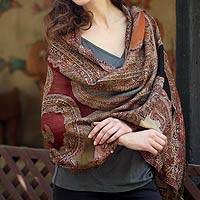Jamawar wool shawl, 'Paisley Voyage' - Jamawar Style Woven Paisley Wool Wrap Shawl from India