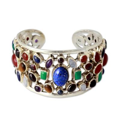 Multi-gemstone cuff bracelet, 'Shimmering Confetti' - Gemstone Cuff Bracelet in Sterling Silver from India