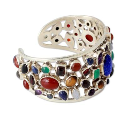 cfbaa73425e Gemstone Cuff Bracelet in Sterling Silver from India - Shimmering Confetti    NOVICA