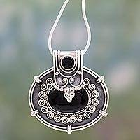Onyx flower necklace, 'Traditional Chic' - Onyx Pendant Necklace in Oxidized Sterling Silver from India