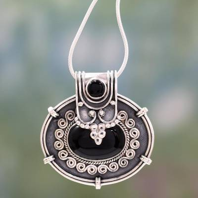 Onyx flower necklace, 'Traditional Chic' - Onyx Pendant Necklace in oxidised Sterling Silver from India