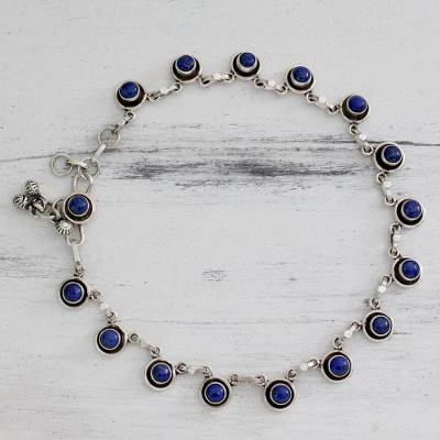 Lapis lazuli anklet, 'Blue Moon' - Handcrafted Sterling Silver and Lapis Lazuli Anklet