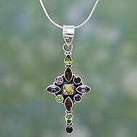 Garnet and amethyst flower necklace, 'Starburst' - Handmade Sterling Silver Necklace with Natural Gems