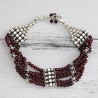 Garnet beaded bracelet, 'Regal Mood' - Garnet beaded bracelet