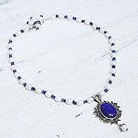 Pearl and lapis lazuli pendant necklace, 'Ethereal'