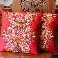 Cushion covers, 'Celebration' (pair) - Hand Beaded Embroidered Cushion Covers from India (Pair)
