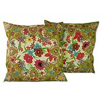 Cushion covers, 'Floral Paradise' (pair) - Fair Trade Floral Cushion Covers from India (Pair)