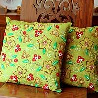 Cushion covers, 'Floral Meadow' (pair) - Cushion covers (Pair)