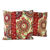 Cushion covers, 'Floral Explosion' (pair) - Beaded Multicolor Cushion Covers from India (Pair)
