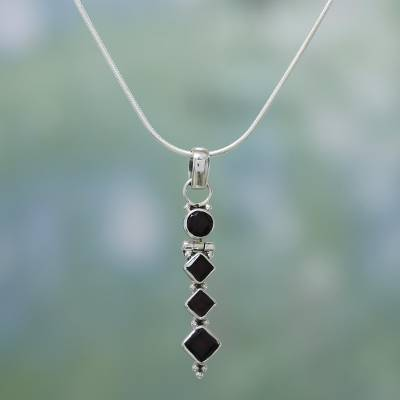 Garnet pendant necklace, 'Ravishing Red' - Sterling Silver and Garnet Necklace from India
