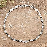 Sterling silver anklet, 'In Diamonds'