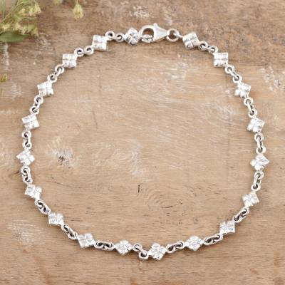 Sterling silver anklet, 'In Diamonds' - India Sterling Silver Ankle Jewelry