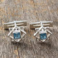 Blue topaz cufflinks, 'Starstruck' - Handcrafted Sterling Silver and India Blue Topaz Cufflinks