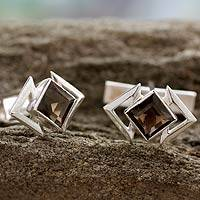 Smoky quartz cufflinks, 'Aura' - Handcrafted Sterling Silver Smoky Quartz Cufflinks