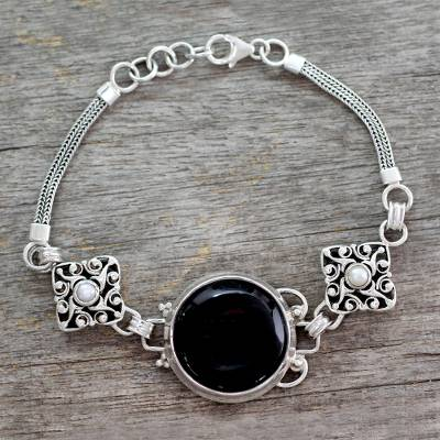 Onyx and pearl bracelet, 'India Night' - Hand Made Onyx and Pearl Bracelet
