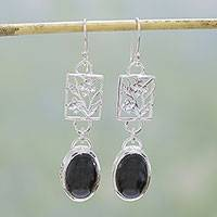 Onyx flower earrings, 'Summer Night'