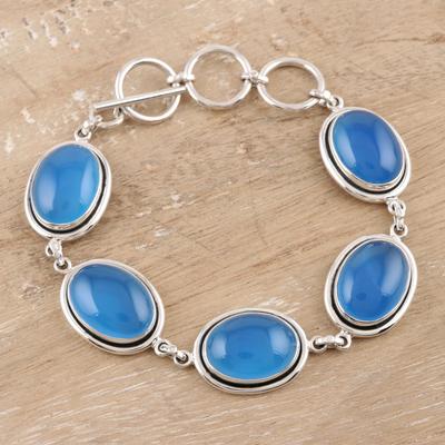 Chalcedony link bracelet, 'Blue Chic' - Chalcedony link bracelet