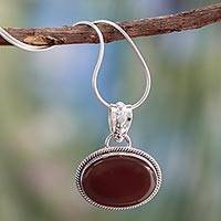Sterling silver pendant necklace, 'Solo' - Fair Trade jewellery Sterling Silver and Onyx Necklace