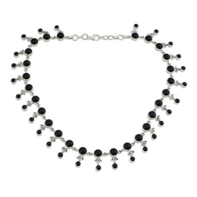 Sterling Silver Waterfall Onyx Necklace